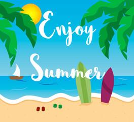 Enjoy summer cartoon style poster.
