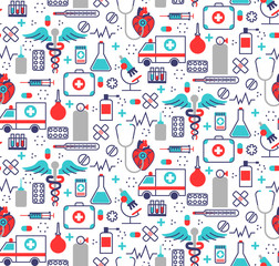 Health care seamless pattern in modern flat line style. A lot of