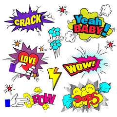 Comic Bubbles Set. Expressions Pow, Oops, Wow, Love, Crash, Yeah