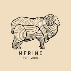 Merino sheep logo, label. Vector ram illustration. Ewe soft wool sign. Fleece icon background.