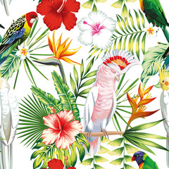 Parrot tropical flowers and leaves seamless pattern white background