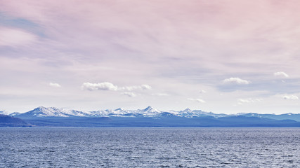 Color toned panoramic picture of the Yellowstone Lake, Yellowstone National Park, Wyoming, USA.