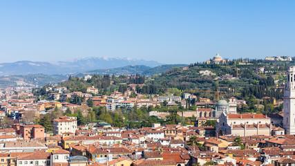 view of Verona city with castel san pietro hill
