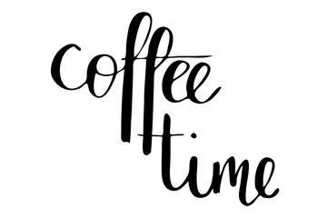 Coffee time. Handwritten black text isolated on white background, vector. Each word is on the separate layer