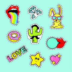 Fashion patch badges with lips, rainbow, glasses, donut, diamond, speech bubbles, love, rabbit, cactus, heart, love and other elements. Very large set of girlish stickers, patches in cartoon isolated
