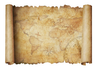 old world scroll map isolated 3d illustration