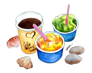 ice cream and coffe, sorbets on the beach, still life watercolor illustration with summer mood, isolated on white