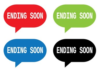 ENDING SOON text, on rectangle speech bubble sign.