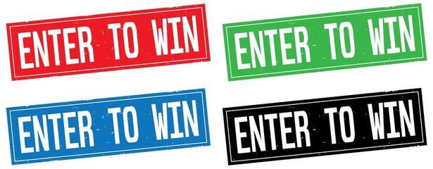 ENTER TO WIN text, on rectangle stamp sign.