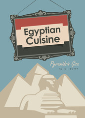 vector banner for a restaurant egyptian cuisine with egyptian flag and Pyramidsin Giza