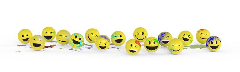 Smileys haben Spaß mit Farbe