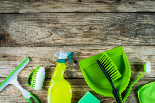 Spring Cleaning concept. Various of cleaning Products