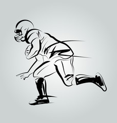 Vector Line Sketch Player of American Football