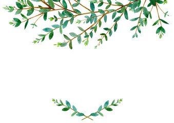 Floral border .Garland of a eucalyptus branches.Frame of a herbs.Watercolor hand drawn illustration.It can be used for greeting cards, posters, wedding cards.
