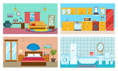 Modern interior of rooms: living room, kitchen, bedroom, stylish bathroom.