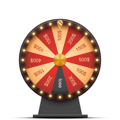 Wheel of fortune with money prizes, isolated on white