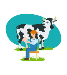Farmer sits near the cow and is engaged in milking.