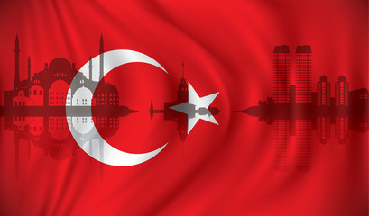 Flag of Turkey with Istanbul skyline