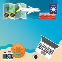summer vacations icons. travel and tourism design. vector illustraiton