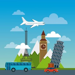 iconics monuments of the world and urban city with car and bus icons. travel and tourism design. vector illustraiton