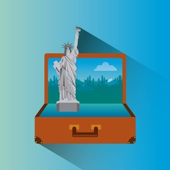 liberty statue inside brown suitcase. travel and tourism design. vector illustraiton