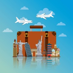 iconics monuments of the world around suitcase over sky background. travel and tourism design. vector illustraiton