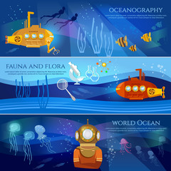 Scientific research of sea and ocean yellow submarine underwater with periscope divers. Oceanography. Sea exploration banner