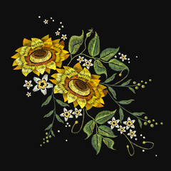 Embroidery sunflowers, flowers vector. Beautiful bouquet sunflowers embroidery template for clothes