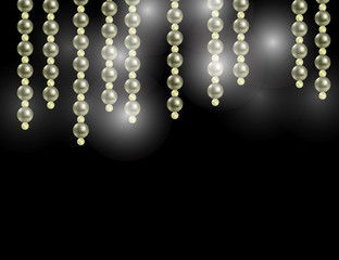 Abstract Sparkling Holiday Background with Shining Stars and Pearls.