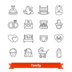 Family thin line art icons set