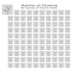 set of monochrome icons with 99 names of god in islam for your design