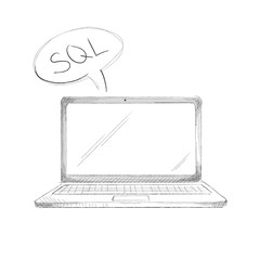 Hand drawn programming language concept laptop sql