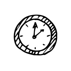 Hand drawn clock icon. Sketch, vector illustration.
