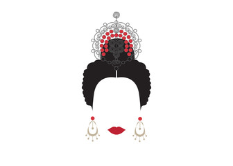 Portrait of modern Mexican or Spanish woman whit Craft accessories, Vector illustration transparent background