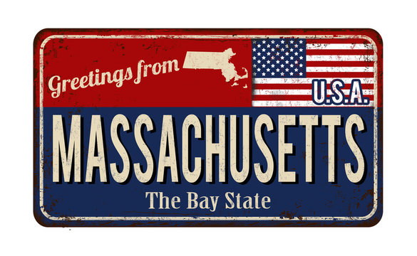 Massachusetts vintage rusty metal sign