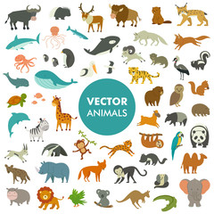Collection of Animals of the World. Vector Illustration of Simple Cartoon Animal Icons.