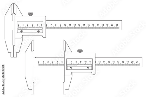 u0026quot caliper  closed and open  outline drawing u0026quot  stock image