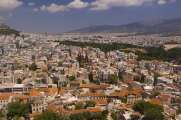 Panorama of the city of Athens in Greece, the Beautiful landscape of the ancient capital