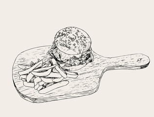 Hamburger with fries . hand drawn sketch vector.