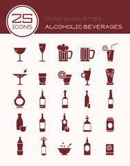 Icons silhouettes alcoholic beverages