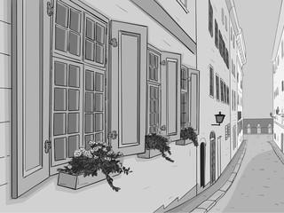 Fotobehang Illustratie Parijs Beautiful narrow city street with flowers window boxes. Hand drawn sketch. Grayscale illustration