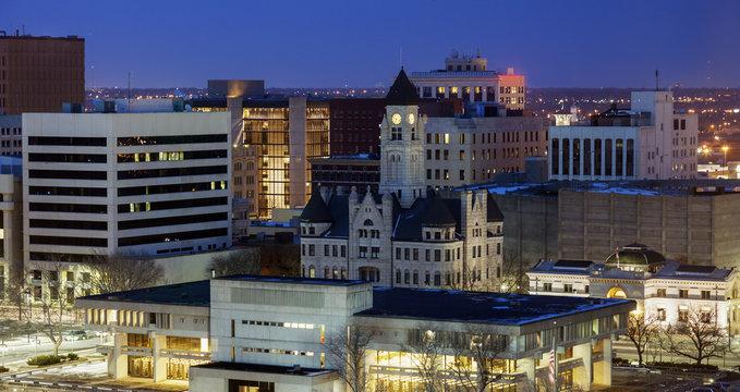 Panorama of Wichita at night