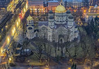 Wall Mural - Riga Lettland Kirche orthodox beleuchtet