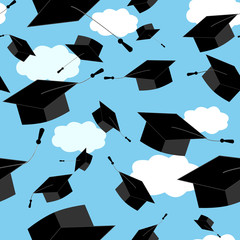 Seamless pattern of graduation hat thrown up in the clouds sky. Vector educate cap illustration