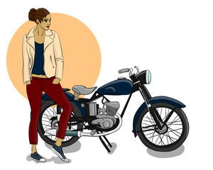 A girl dressed in a beige leather jacket, jeans and sneakers stands next to a blue motorcycle eps 10 illustration