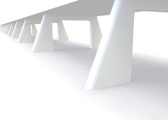 Abstract futuristic white bridge. 3D rendering