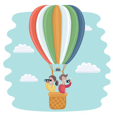 HHappy kids flying in a hot air balloon