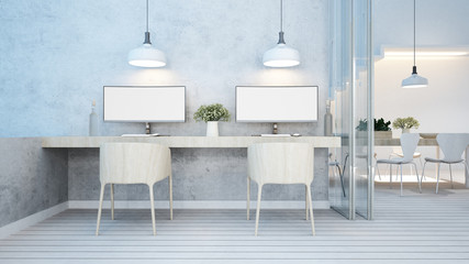 dining area and workspace white tone in home or apartment - 3D Rendering