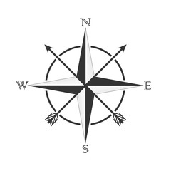 Vector compass with wind rose and arrows in the old style. Design for tattoos and stickers.