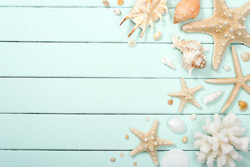 summer background, seashells on the wood